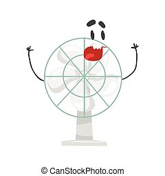Funny electric fan character with smiling face, humanized home electrical equipment vector Illustration