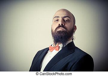 funny elegant bearded man