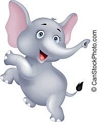 Funny elephant cartoon dancing