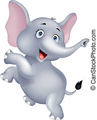 Funny elephant cartoon dancing