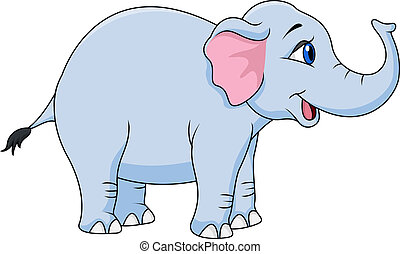 Funny elephant cartoon - Vector illustration of Funny...