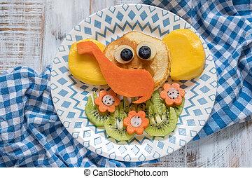 Funny elephant pancakes for kids breakfast