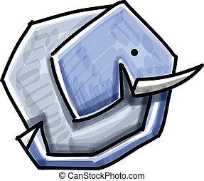 Funny elephant pictogram cartoon illustration