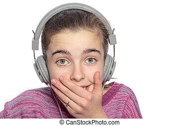funny embarrassing touched teenage girl with headphones, isolat