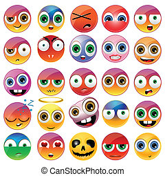 Collection of different emoji faces