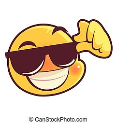 funny emoji wearing sunglasses, emoticon face expression social media