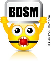 Funny emoticon with bdsm sign