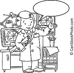 Funny engineer or inventor. With balloon for text
