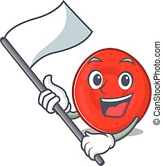 Funny erythrocyte cell cartoon character style holding a ...