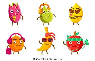 Funny Exotic Fruit Characters Set, Pitahaya, Pear, Lemon, Orange, Banana, Apple Different Activities Vector Illustration