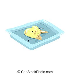 Funny extracted dead tooth lying on a steel tray cartoon vector Illustration