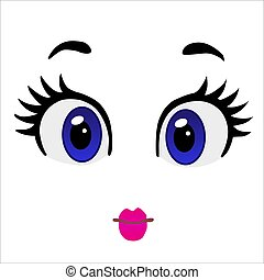 funny eyes and mouth on white background