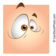 Funny Eyes Cartoon Box Smiley