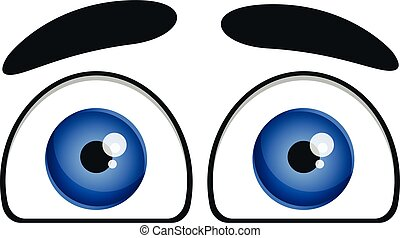 Funny eyes icon, cartoon style