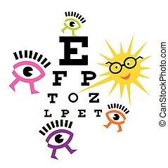 Funny eyes testing eyesight.