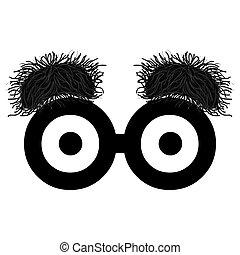 Funny eyes with bushy eyebrows