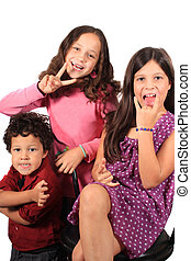 Funny face and gesture kids - Cute kids playing making funny...