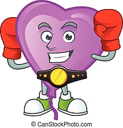 Funny Face Boxing purple love balloon cartoon character design. Vector illustration