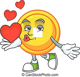 Funny Face chinese gold coin cartoon character holding a heart