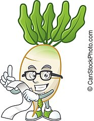 Funny face daikon cartoon with menu ready to serve