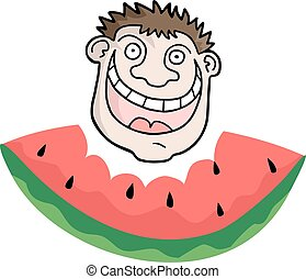 funny face eating watermelon
