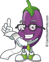 Funny face eggplant cartoon with menu ready to serve