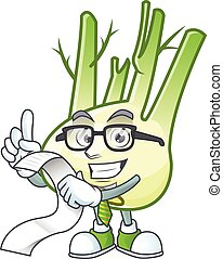 Funny face fennel cartoon with menu ready to serve