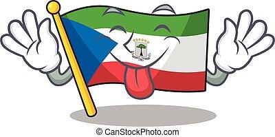 Funny face flag equatorial guinea Scroll mascot design with ...