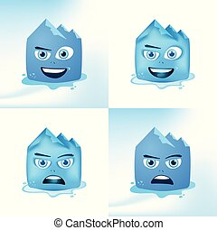 Funny Face Glacier Cartoon Expressions In Blue Color...
