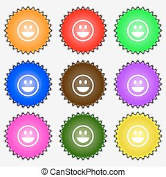 funny Face icon sign. A set of nine different colored labels. Vector