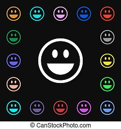 funny Face icon sign. Lots of colorful symbols for your design. Vector