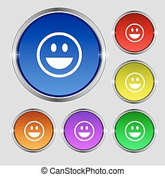 funny Face icon sign. Round symbol on bright colourful buttons. Vector
