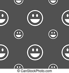 funny Face icon sign. Seamless pattern on a gray background. Vector