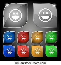 funny Face icon sign. Set of ten colorful buttons with glare. Vector