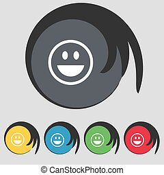 funny Face icon sign. Symbol on five colored buttons. Vector