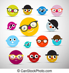 Funny Face Icons Illustration