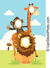 Funny Face In The Hole of Animals Illustration
