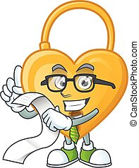 Funny face love padlock cartoon with menu ready to serve