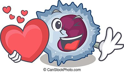 Funny Face monocyte cell cartoon character holding a heart. ...