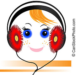 funny face of the boy with headphones - music headphones in...