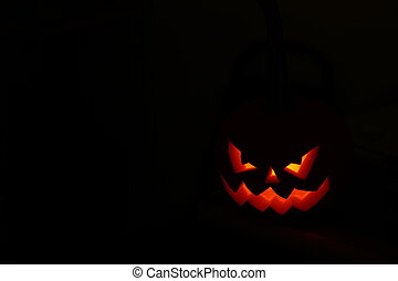 Funny face on the pumpkin