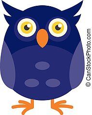 Funny face owl icon, flat style