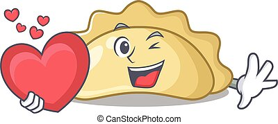 Funny Face pierogi cartoon character holding a heart. Vector illustration