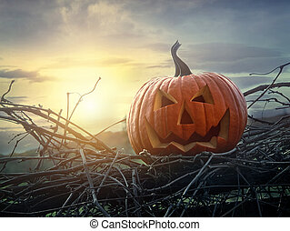 Funny face pumpkin sitting on fence