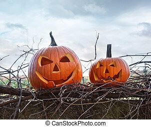 Funny face pumpkins sitting on fence