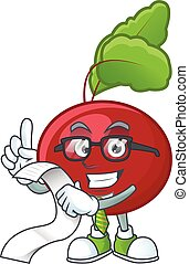 Funny face red beet greens cartoon with menu ready to serve