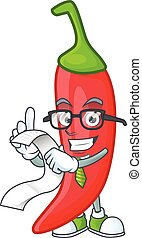 Funny face red chili cartoon with menu ready to serve