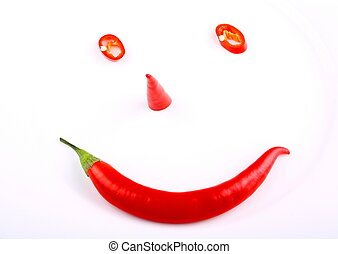 funny face red hot pepper on a plate