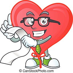 Funny face red love balloon cartoon with menu ready to serve