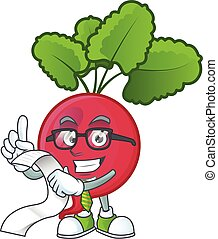 Funny face red radish cartoon with menu ready to serve